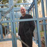 happy client Steven Bowman checking Backyard Pod Progress in Melbourne